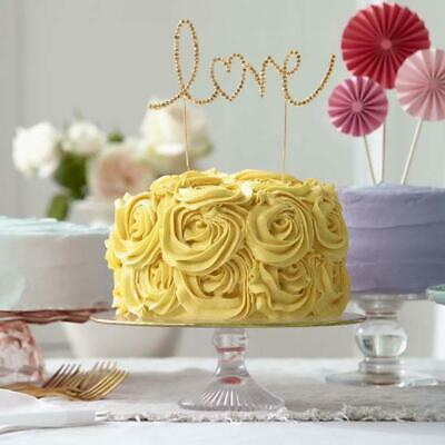 GOLD Love Crystal Rhinestones Cake Topper for Wedding Party Decorations SALE