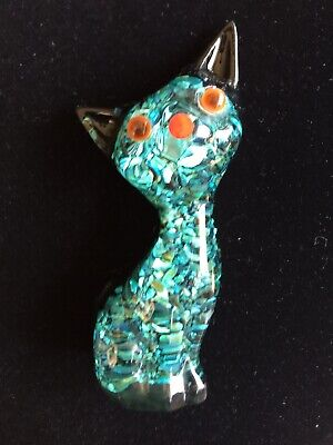 Vintage Paua Shell Crystal Craft Resin Cat Ornament 1960s-70s New Zealand