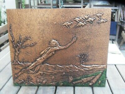 Stunning piece of Australian  Copper Hammered Artworks Signed