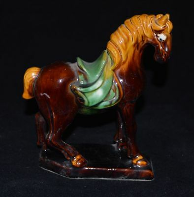 China's 80s Export Porcelain Tri-coloured Glazed Pottery Small Horse Statue