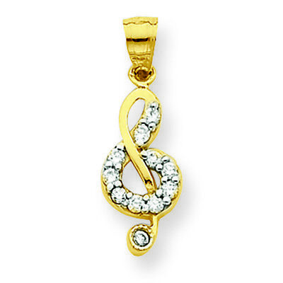 10K Yellow Gold Musical Note Treble Clef Charm Pendant MSRP $60