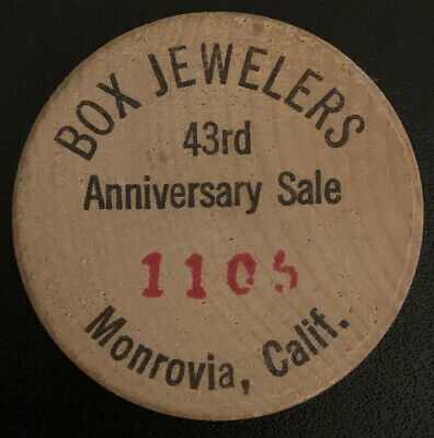 Box Jewelers Monrovia California CA Wooden Nickel Token Coin