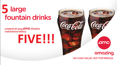 AMC Theaters 2 Large Drink Coke || Fast E-Delivery Exp 6/30/20