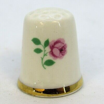 Collectable China Thimble Pink Rose, Double Sided By 'Lord Nelson'