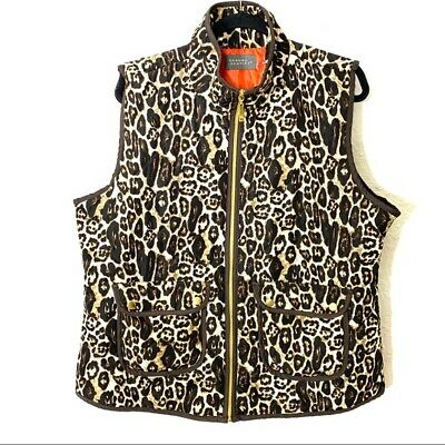 Casual Identity Women's Size XL Leopard Print Quilted Vest Zip Black Tan Pockets