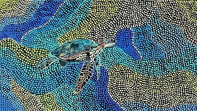 "ABORIGINAL PAINTING ""Ocean Turtle"" stunning dot art on canvas by Pati  COA"