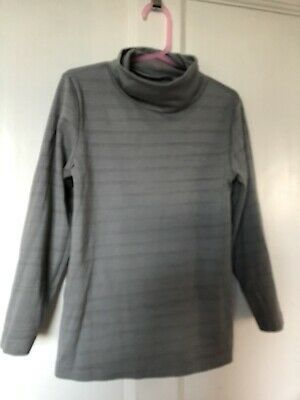Girls Crane Ski Roll Neck Top Age 7-8 Years Grey Long Sleeve Stretch Fabric