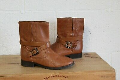 Girls Brown Leather Biker Boots Size 2 / 35 By Zara Girls Good Used Condition