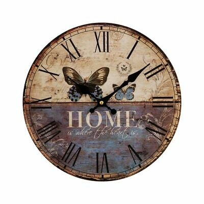 Hometime Shabby Chic Wall Clock Butterfly Forest Gate Rustic Vintage Home Clock