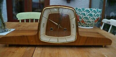 Retro 1950's HERMLE modernist mantel clock , SEE VIDEO.