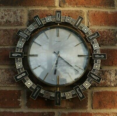 VINTAGE RETRO  1970s METAMEC AZTEC SUNBURST WALL CLOCK