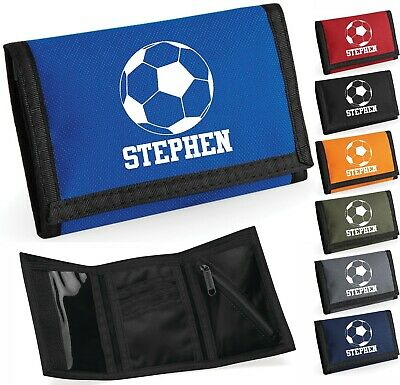 Personalised Printed Wallet Add Name Football Icon Boys & Girls Kids Child Gift