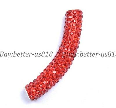 1pcs Red Curved Czech Crystal  Pave Tube Bracelets Connector Charm Beads