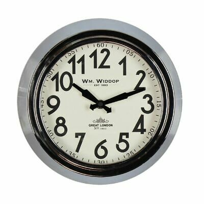 Wm Widdop Round Metal Case Wall Clock Chrome Finish 25.5cm Home Office Clock