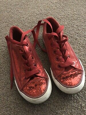 Girls Red Sparkly Trainers M And S Size 11