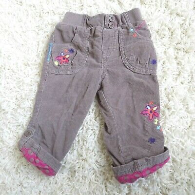 Velvet Corduroy Girls Trousers Age 12-18 months Jogger Embroidered Padded Taupe