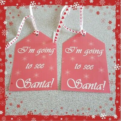 Pair of Handmade Lapland Santa North Pole Luggage Label Tags Reveal