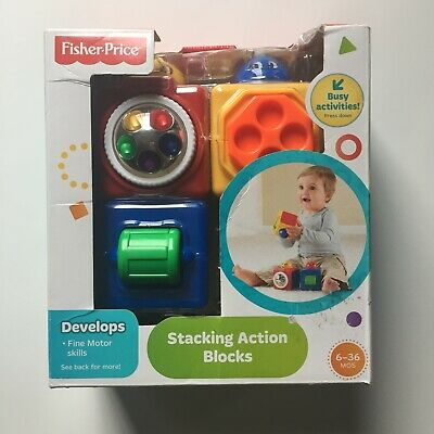 Fisher Price Stacking Action Blocks 6-36mos Developmental Toys Play Baby