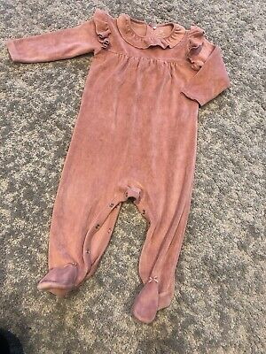 NEXT Baby Girls Soft Pink Velour Frilled Baby Grow Age 9-12 Months