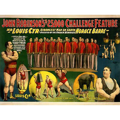 1890s Louis Cyr Strongman Poster Huge 24x48! Stongest Man on Earth