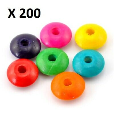 200 X Mixed Colours Abacus Wood Spacer Beads, Large Bag