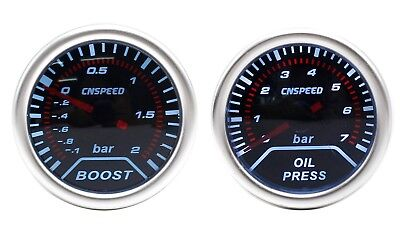 CNS 52mm Smoked Oil Pressure With 1/8NPT Sender & 2 Bar Boost Gauge