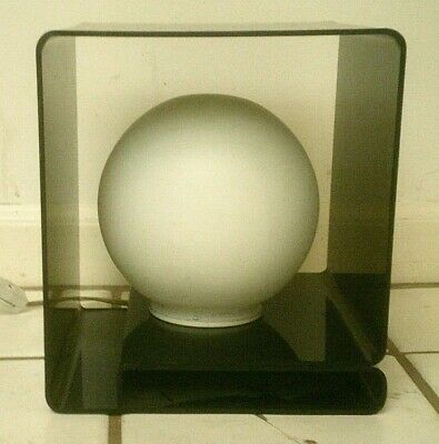 "Vintage Mid Century Modern Smoked Lucite Cube Table Lamp 9 1/4"" Tall"