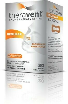Theravent Therapy Strips Snore Regular 80 Strips (4 Sealed Boxes) Exp 10/2020