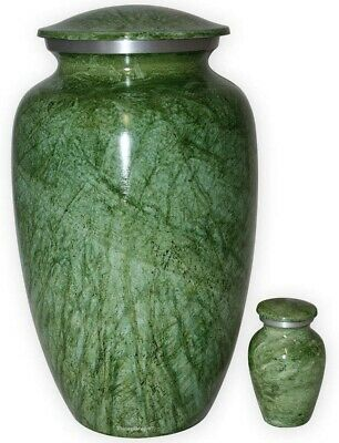 Large/Adult Lacerate Green Cremation Urn for Pet or Human Ashes, Funeral Urn