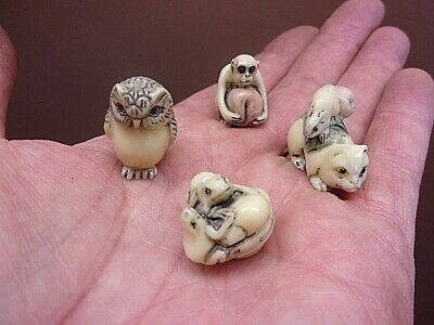 Four NETSUKE Owl Frogs Monkey Rat Ojime Beads Japanese Tiny Miniature Figurines