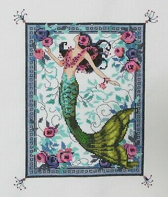 Completed Finished Cross Stitch Nora Corbett Mirabilia Moonlight Laguna Mermaid