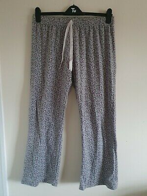Ladies Grey & Pink Leopard Print Elasticated Waist Fleece PJ Bottoms Size L