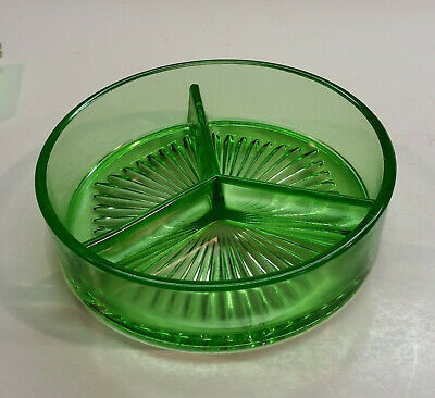 Divided Light Green Depression Glass Condiment or Candy Dish or Nut Bowl
