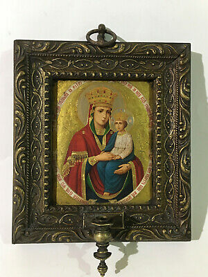 Antique Russian icon Virgin Surety of Sinners with frame and bronze lamp