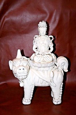 Antique Chinese Fine Blanc de Chine Pottery Guanyin Goddess of Mercy on Foo Dog