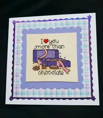 Completed Cross Stitch Card - Valentine or Anniversary - Chocolate box