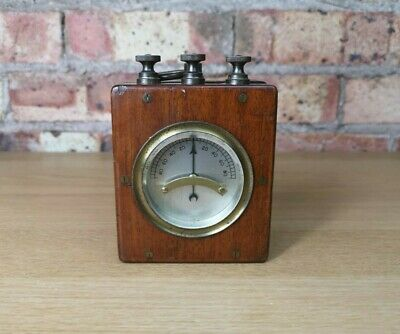 Antique Vintage Galvanometer Mahogany Wooden Wood Cased