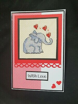 Completed Cross Stitch Card - Valentine, Birthday or Anniversary - elephant