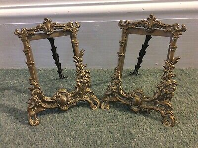 Pair of Antique French Baroque Rococo Style Brass Photo Frames - No Glass