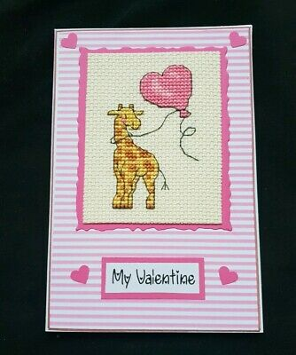 Completed Cross Stitch Card - Valentine - Giraffe and balloon