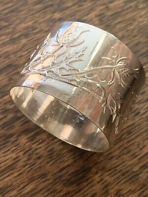 Antique Sterling Silver Nouveau Floral Round Napkin Ring NO MONO Murat Thistle