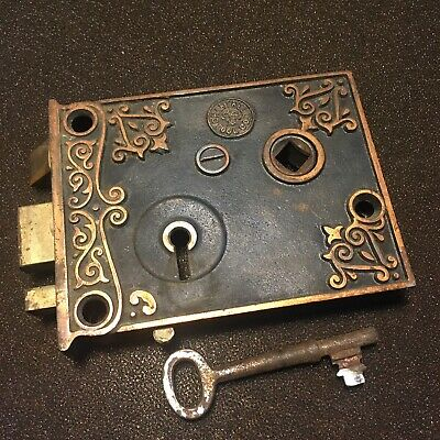 Antique Chantrell Tool Co. Rim Lock very ornate With  Skeleton Key