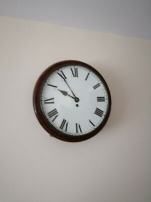 Vintage Round Dial School Wall Clock.  Working well. 37 cm diameter.