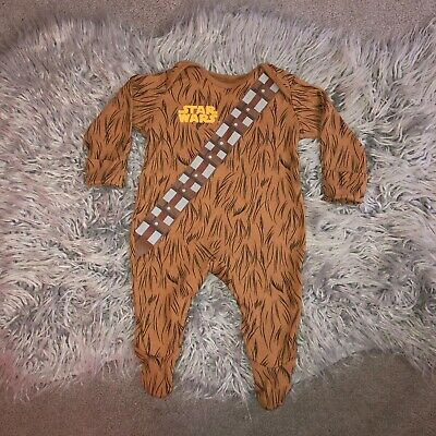 💙 Baby boys Star Wars Chewbacca all in one babygrow sleepsuit outfit 0-3 months