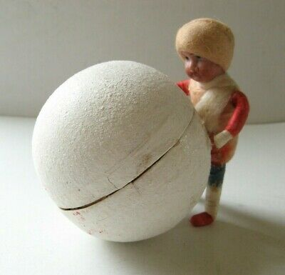 """Antique Heubach Snowball Christmas Candy Container, 2-3/8"""" dia, Child is 3"""" tall"""