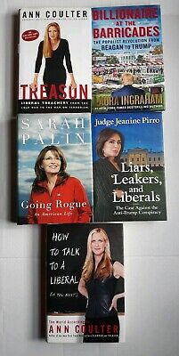 Conservative Republican Book Lot Of 5 Hardcover Palin, Coulter, Ingraham, Pirro