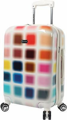 """Cubic Luggage Carry On 20"""" Hardside Suitcase With Spinner Wheels Colorful"""