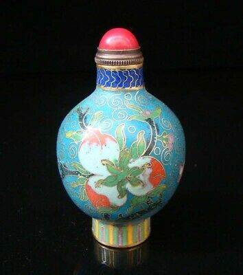 Collectibles 100% Handmade Painting Brass Cloisonne Enamel Snuff Bottles 011