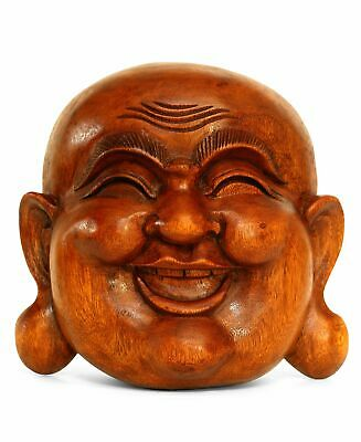 Wooden Wall Mask Laughing Smiling Happy Buddha Head Statue Hand Carved Sculpture