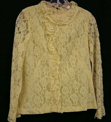 Vintage Ladies Handmade Rose Lace Long Sleeve Blouse Yellow Size @ Small